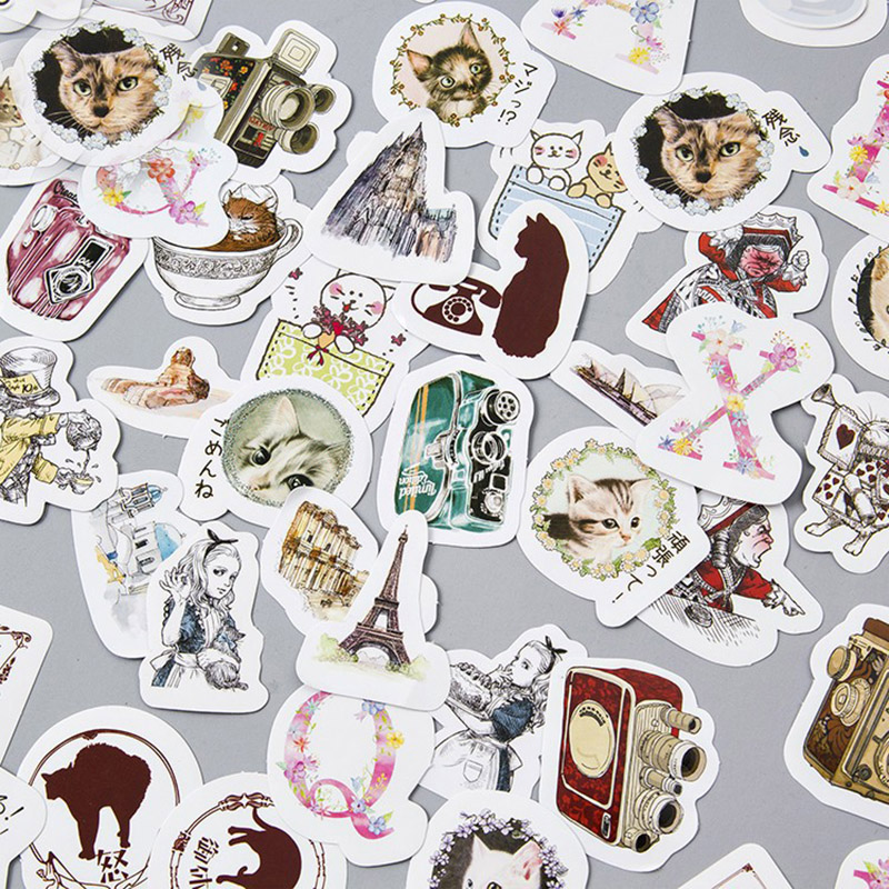 45 pcs/lot DIY Cute Cartoon Cat Diary Stickers Kawaii Alice Decorative Sticky Paper For Scrapbooking Decoration Stationery 8 pcs lot funny sticker cute bear penguin cat decorative adhesive for diary letter scrapbook school supplies stationery
