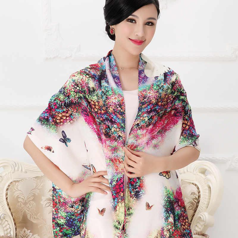 DANKEYISI 女性桑絹のスカーフショール春秋の女性本物のシルクのスカーフロングプリントショールビーチカバーアップ 172*55 センチメートル
