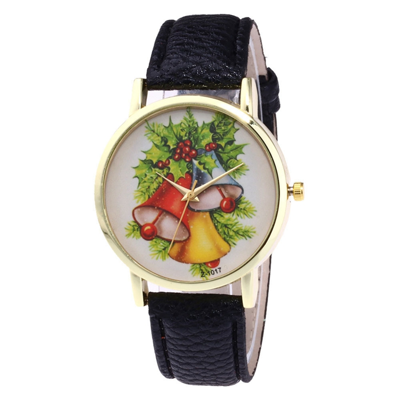 New Arrive Watch Women Leather Analog Display Women Dress Watch Christmas Pattern Quartz Watch Women Wristwatch relogio feminino