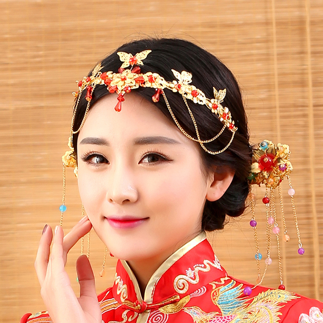3919f84b8 Tong Xin Traditional Chinese Wedding Bride Hair Tiaras for Xiuhefu Hair  Accessory Set for Costume