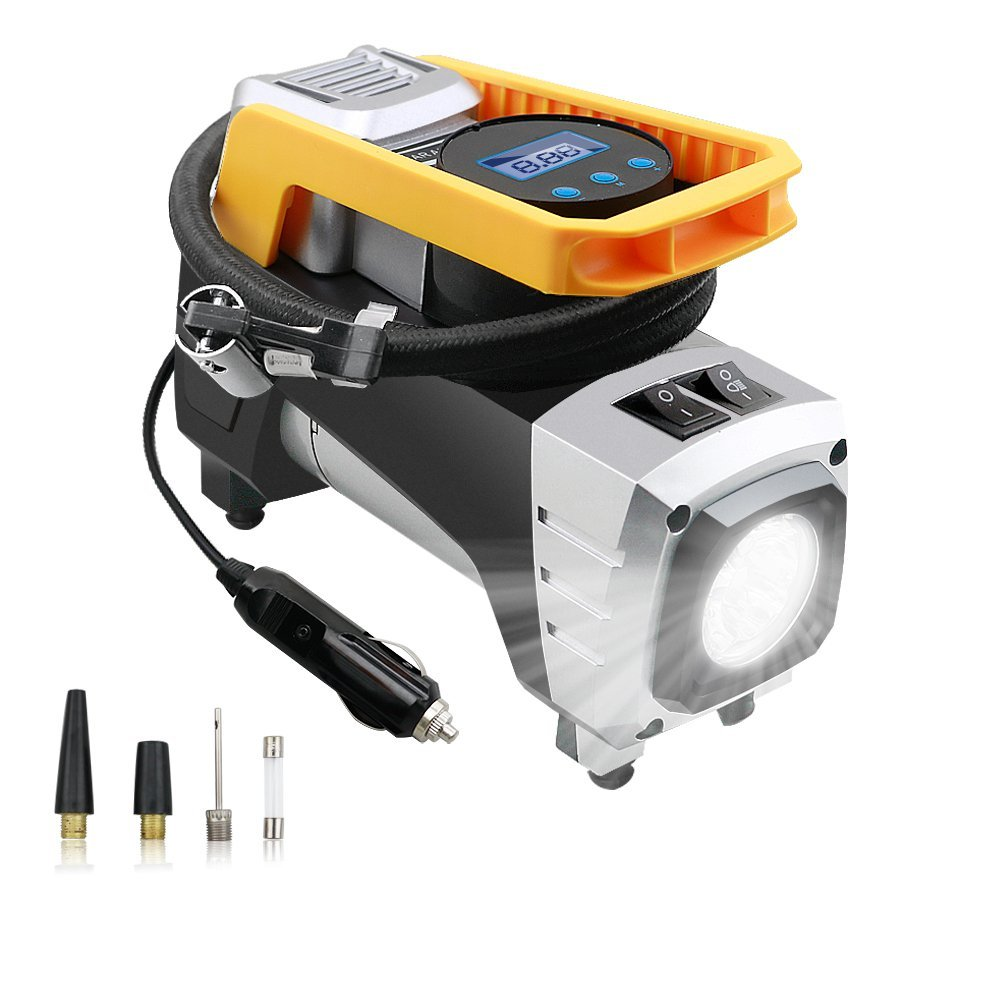 Air Compressor Pump, Digital Tire Inflator DC 12V 120W 150 PSI Car Air Pump With Auto Shut Off Gauge And Powerful Emergency