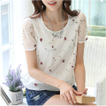 Hot 2016 Trendy Girl's Flora Embroidered Chiffon Lace Shirt Ladies Short-sleeve Casual Tops For women blusas femininas