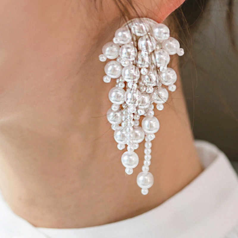 2019 Wedding Jewelry Simulated Pearl Long Earrings For Women Korean Fashion Chic Big Small White Beads Drop Earrings Bijoux Gift
