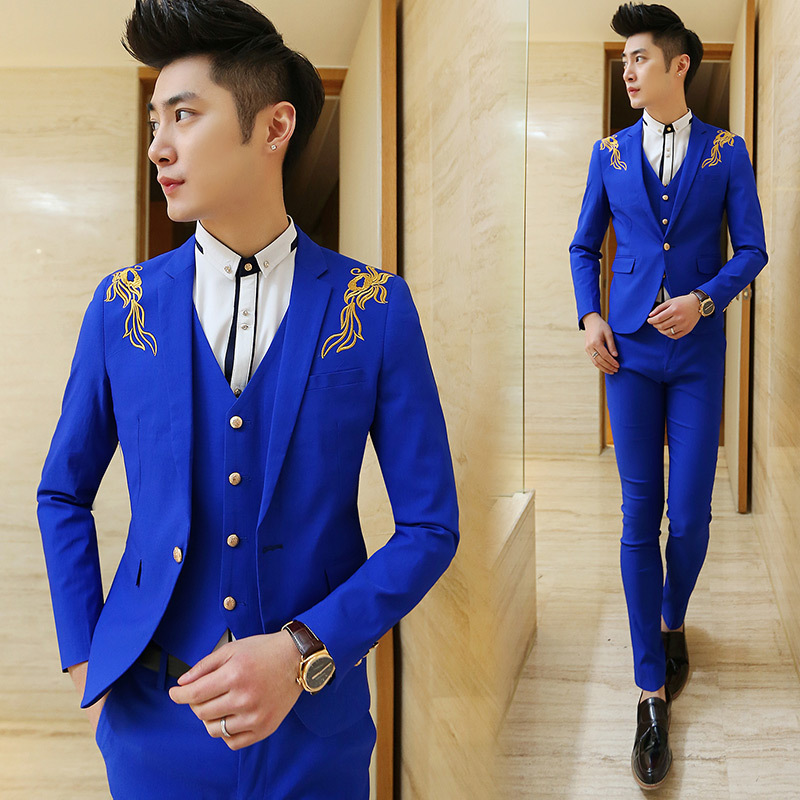 Bright Blue Suit Mens Dress Yy