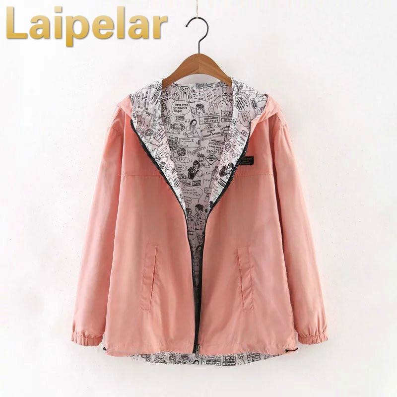 Laipelar 2018 Autumn Women Bomber   Basic     Jacket   Pocket Zipper Hooded Two Side Wear Cartoon Print Outwear Loose Coat