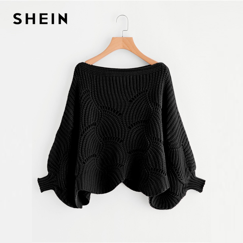 fa0de2a59b46 Comprar SHEIN negro Preppy sólido Oversized ojal detalle Scallop Trim  Batwing manga barco cuello suéter 2018 otoño Casual mujeres suéteres Online  Baratos.