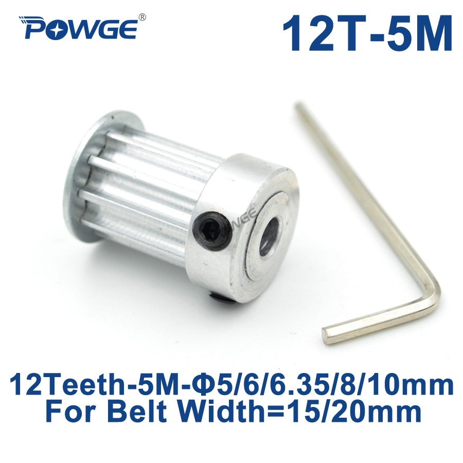 POWGE 12 Teeth HTD 5M Synchronous Pulley Bore 5/6/6.35/8/10mm for Width 15/20mm HTD5M Timing Belts Gear pulley wheel 12Teeth 12T 2pcs htd5m 12t timing pulley 5 6 6 35 8 10mm inner bore 5mm pitch 21mm belt width 12teeth timing belt synchros pulleys