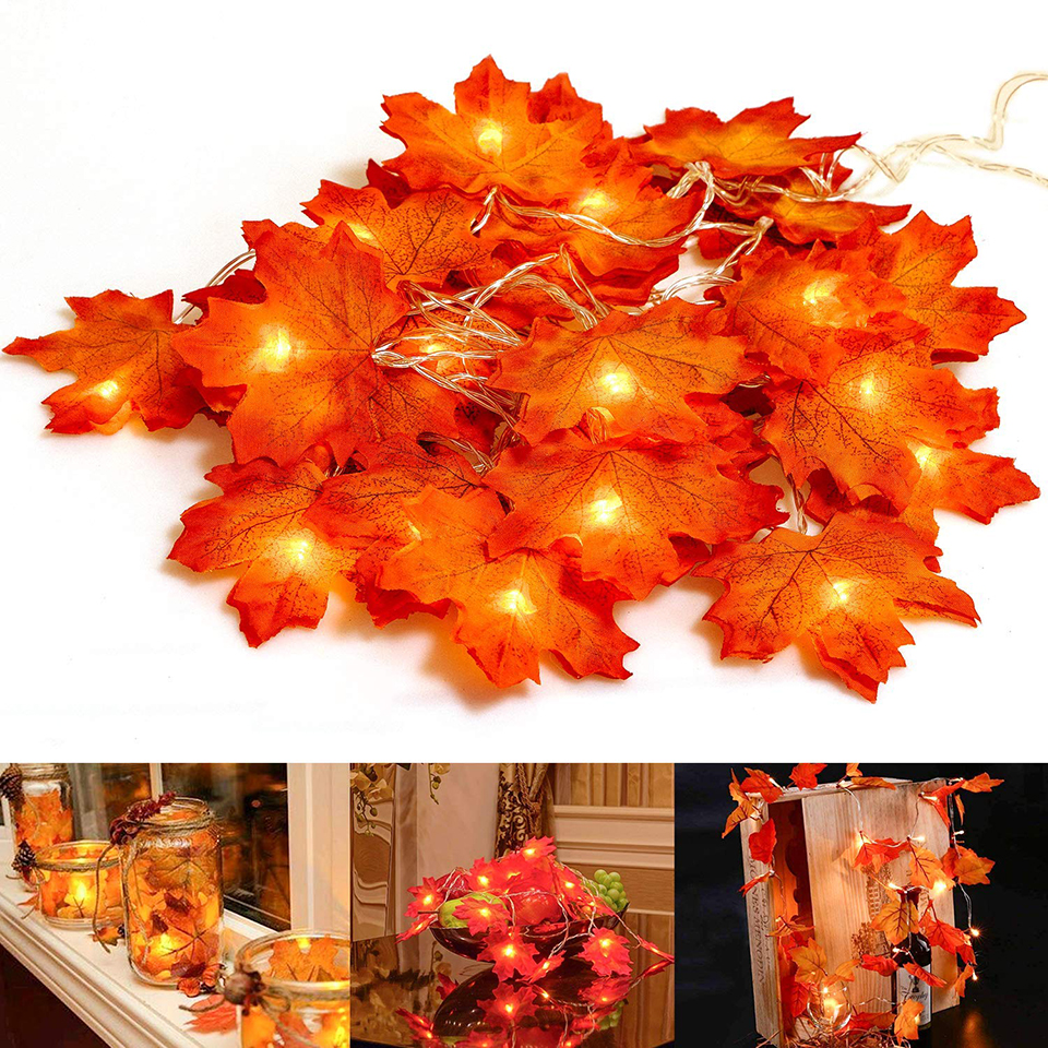 Xsky Drop Ship Fairy String <font><b>Lights</b></font> <font><b>10</b></font>/20/30 <font><b>LEDs</b></font> Maple Leaves <font><b>Light</b></font> Battery Operated for Outdoor Home Christmas Party Decoration image