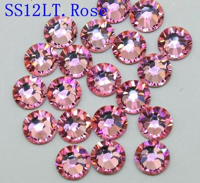 Alta Qualidade 1440 PCS SS10 2.7-2.8mm de volta Plana 10SS LT. ROSR Glitter Não Hotfix-Luz rosa Cor Nail Art Natator Pedrinhas