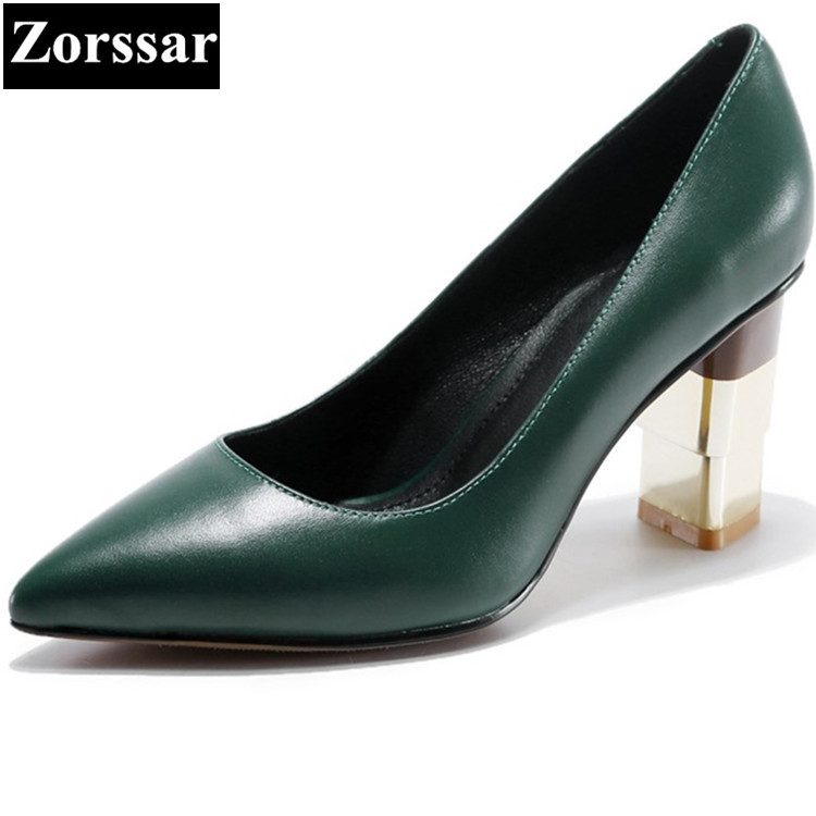 Womens Shoes green High heels Pumps Women Work shoes 2017 Fashion  Metal decoration Genuine leather thick heel pointed toe shoes womens shoes round toe platform high heels pumps women ankle boots 2017 new fashion metal decoration genuine leather woman heels