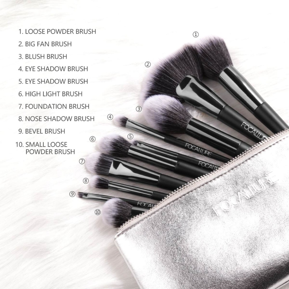 FOCALLURE 10Pcs/Set Professional Makeup Brushes Kit with Eyeshadow Foundation Brush Make up Brush Tools