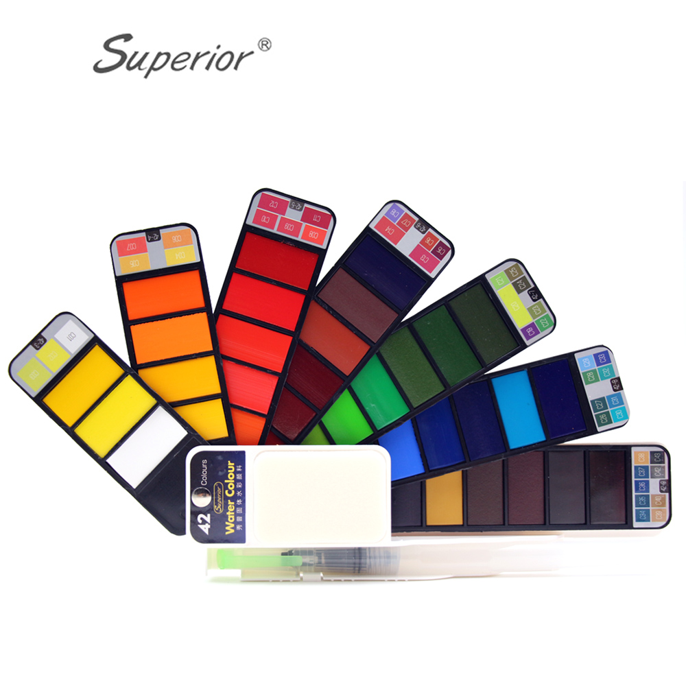 Superior Solid Watercolor Paint Set With Water Brush Pen Foldable Travel Water Color Pigment18/25/33/42 ColorsSuperior Solid Watercolor Paint Set With Water Brush Pen Foldable Travel Water Color Pigment18/25/33/42 Colors