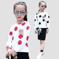Girls Blouses Long Sleeve Polka Dot T-Shirts For Girls Kids Tees 2017 Spring & Autumn School Children Tops 4 5 6 8 9 10 12 Years