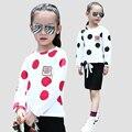 Niñas Blusas de Manga Larga Polka Dot Camisetas Para Chicas Camisetas de Los Niños 2017 de Primavera y de La Escuela de otoño Niños Tops 4 5 6 8 9 10 12 Años