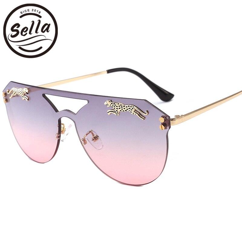 Sella nuevas mujeres hombres Rimless Oversized Cateye gafas de sol marca diseñador Retro leopardo decoración Tint Lens gafas