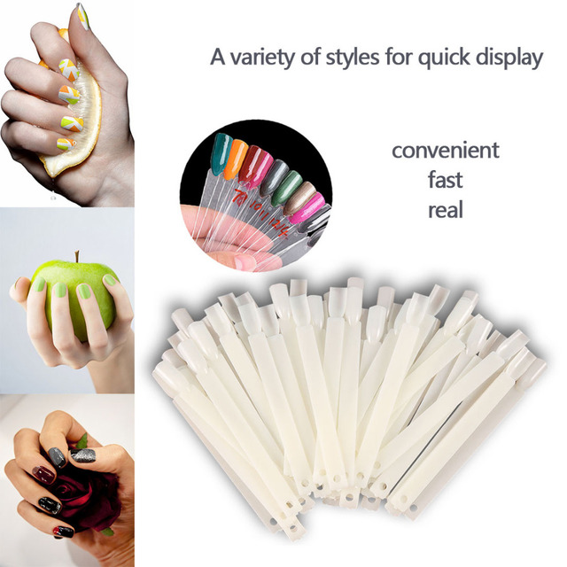 Top 50pcs Nail Polish UV Gel Display False Tips Fan Shaped with Loop Fake Nail Art Color Stickers Foldable Salon Practice Tool