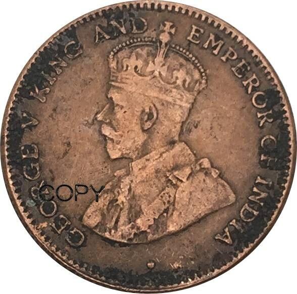 Estreito Assentamentos 1/4 Trimestre Moedas Cópia Cento George V 1883 Cobre Vermelho