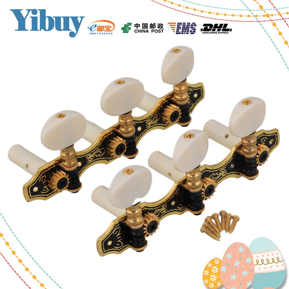Yibuy 2 x Classic Guitar 3 On Plate 1L1R Black Machine Head with Beige Tip yibuy 2pcs inlay colorful guitar head veneer shell sheet new