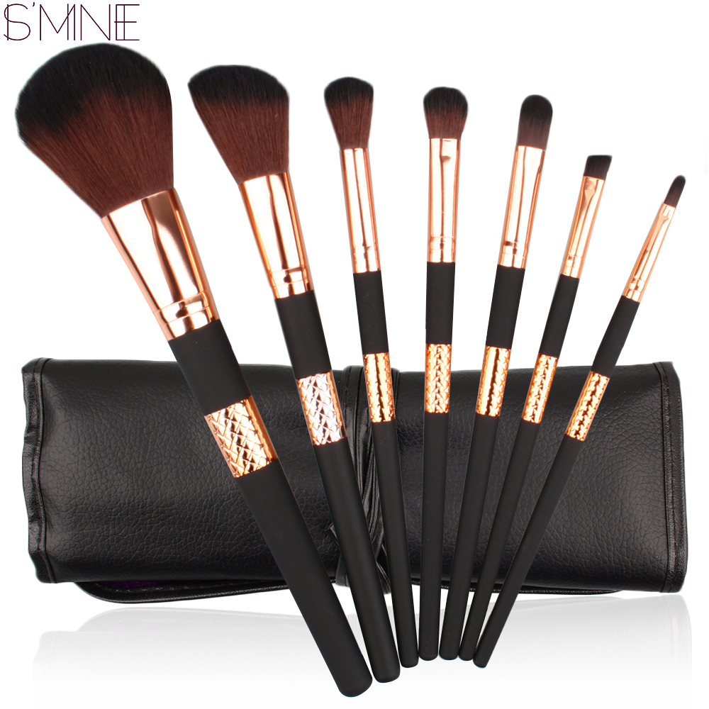 ISMINE 7 Pcs Rose Gold Handle Makeup Brush Set Professional Powder Eyeshadow Face Eye Make Up Brushes Tool Cosmetic Kit with Bag g056 professional makeup brush weasel hair ebony handle make up eyeshadow brushes cosmetic tool angled eye nose shadow brush