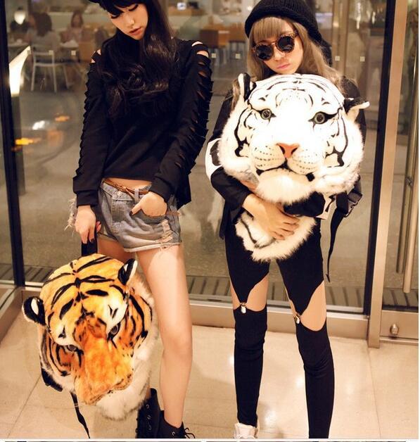 2018 3D Tiger Head Backpack Cartoon Animal Lion Bags White yellow Women Men Casual Daypacks for Travelling Kids Bags Bolsas