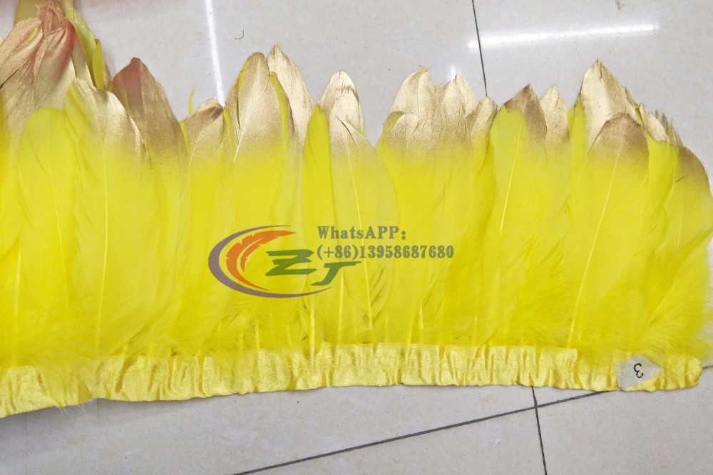 Hot Sale 10 Meters 15-18cm Goose Feather Trim For Skirt Yellow with Gold tips Goose Feathers Ribbon For Costumes Free Shipping