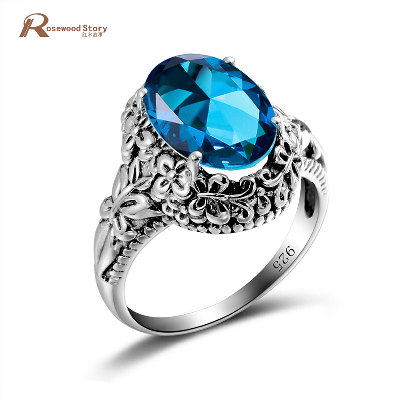 Sale Blue Crystal Vintage Ring High Quality 925 Sterling Silver Rings for Women Punk Style Party Pattern Birthstone Ring