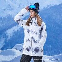 Gsou зимние Водонепроницаемый Лыжная куртка Для женщин ветрозащитный сноуборд куртка лыжный костюм Открытый Лыжный Спорт Сноубординг Кемпи