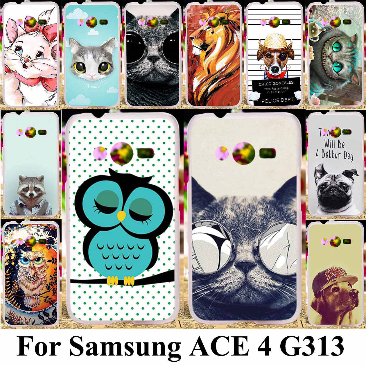 3D DIY Silicone Plastic Phone Case For Samsung Galaxy ACE 4 NXT G313 G318H Trend 2 Lite G313H SM-G313H G318F Cat Bag Shell