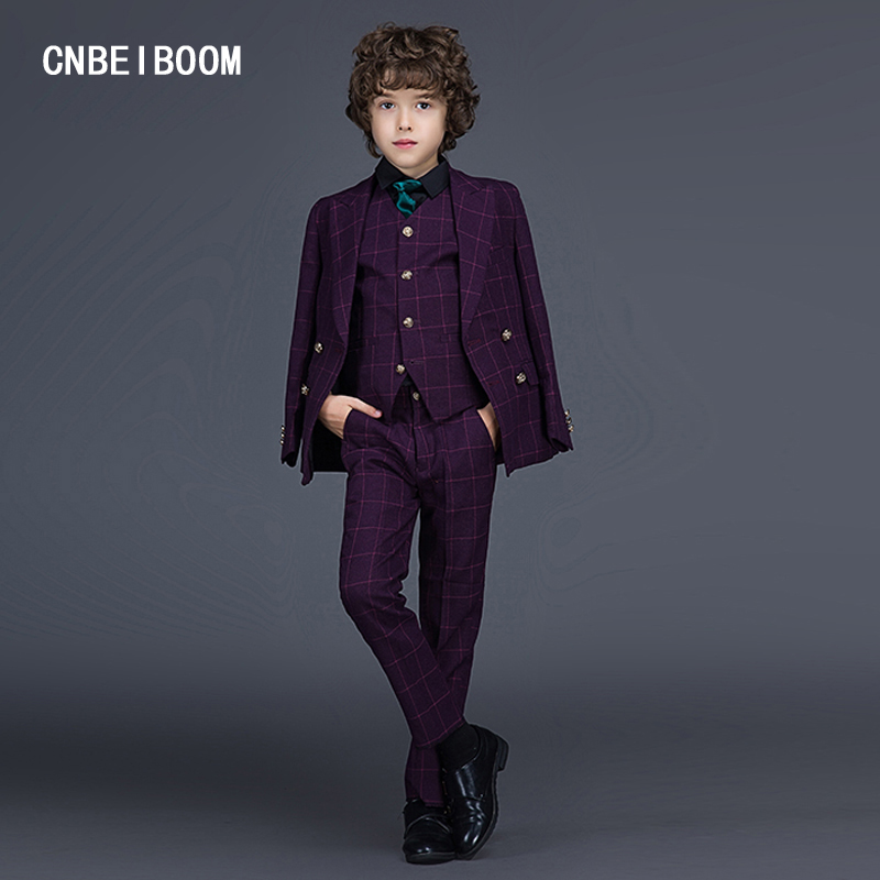 ФОТО Gentleman style Boys Suits Blazer Black/Red/Blue Grid Kids 2-12 Yrs Kids Wedding Party Clothes Suit 3 Pcs (Jacket+Pants+Vest)