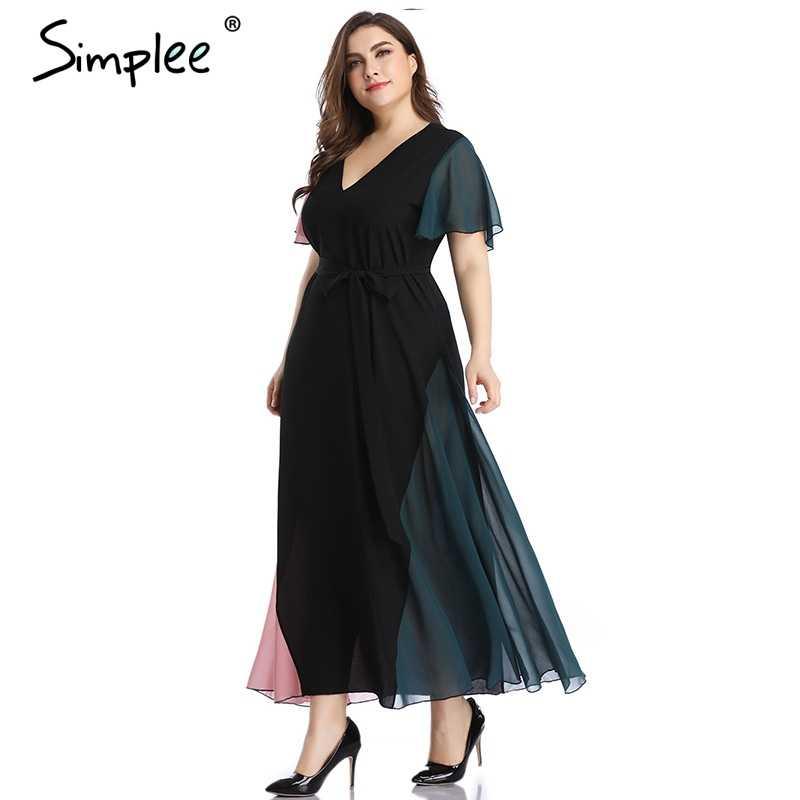 Просто, Элегантно Черный Глубокий v шеи большие размеры платье для Для женщин пикантные Женские повседневные длинные макси летнее vetidos вечерние клуб платье 2019