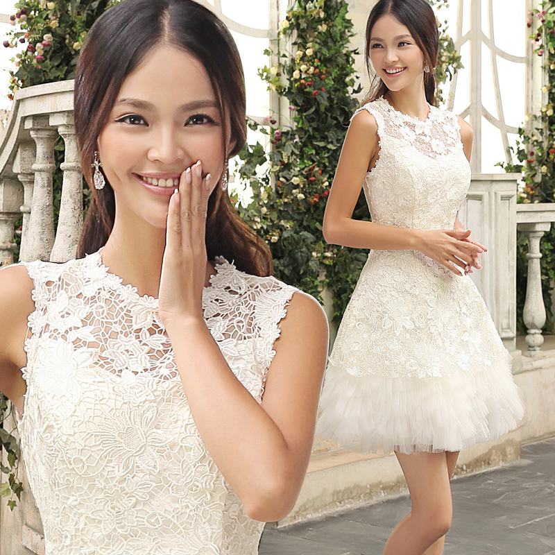 New Arrival A-line Scoop Neck Lace Sleeveless Organza Short Wedding Dresses Bridal Gowns 2015