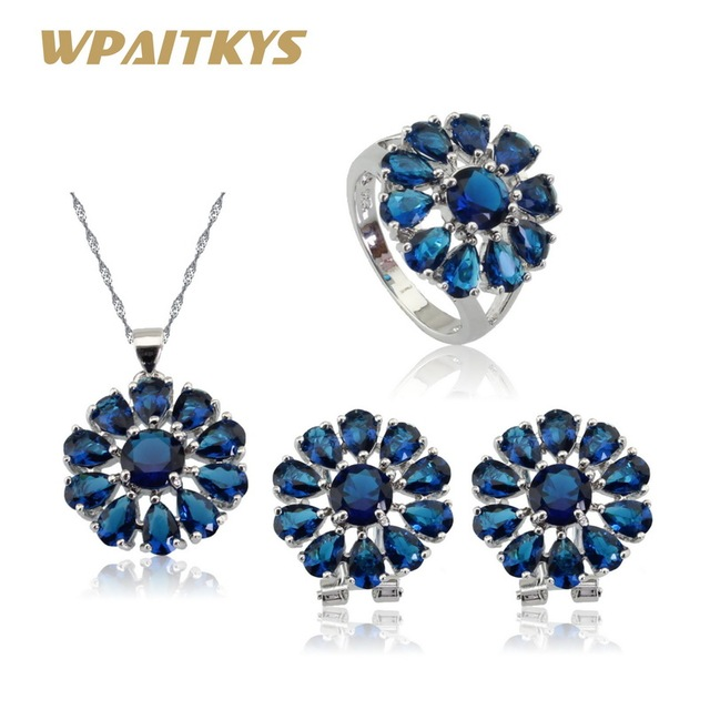 Wpaitkys Silver Color Jewelry Sets Flower Blue Crystal Hoop Earrings Pendant Necklace Rings For Women Free