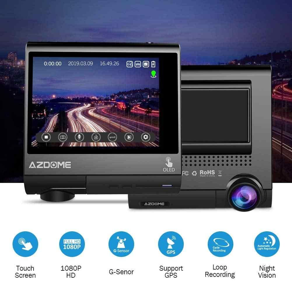 """AZDOME-caméra de tableau de bord avec écran tactile, 3 """"à écran tactile OLED pour voiture, Dashcam"""