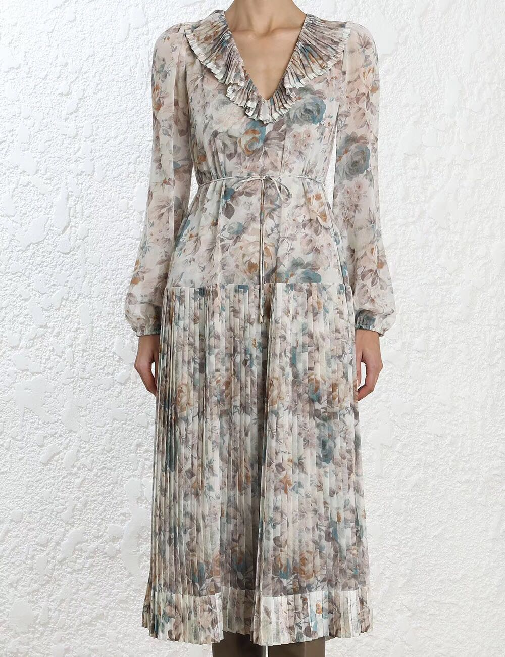 Women Pearl Faded Floral Print Long Sleeve Drop Waist Pleated Panels V Neck  Fleeting Folds Midi Dress-in Dresses from Women s Clothing on  Aliexpress.com ... 6ce344371
