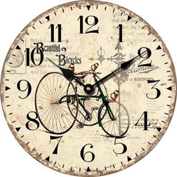 Reloj de Pared De Madera de La Bicicleta moderna Retro Antique Vintage Reloj  Grande Relojes de