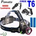 LED CREE XM-L T6 Headlamp 5000Lumens Headlight Head Torch Lamp Light+2x18650 Battery+Charger for Fishing Lights