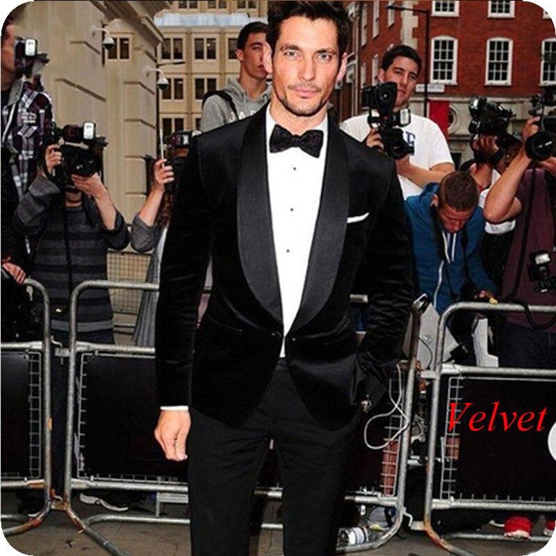 Black Velvet Men Suits For Wedding Smoking Jacket Groom Tuxedos Bridegroom Blazer Slim Fit Terno Masculino 2piece Costume Homme
