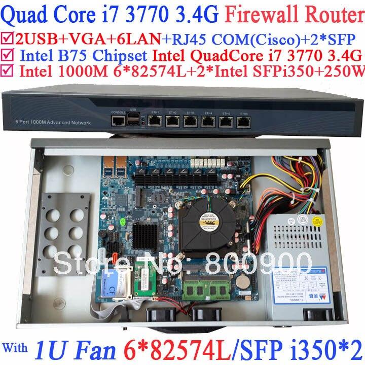 Smart 1U Pare-Feu Réseau souple routage avec 8 Ports 6*1000 m 82574L Cartes Réseau Gigabit 2 * intel i350 SFP Intel Quad-Core i7 3770 3.4 ghz