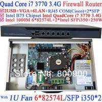 Smart 1U Network Firewall soft routing with 8 Ports 6*1000M 82574L Gigabit Nics 2* intel i350 SFP Intel Quad Core i7 3770 3.4Ghz
