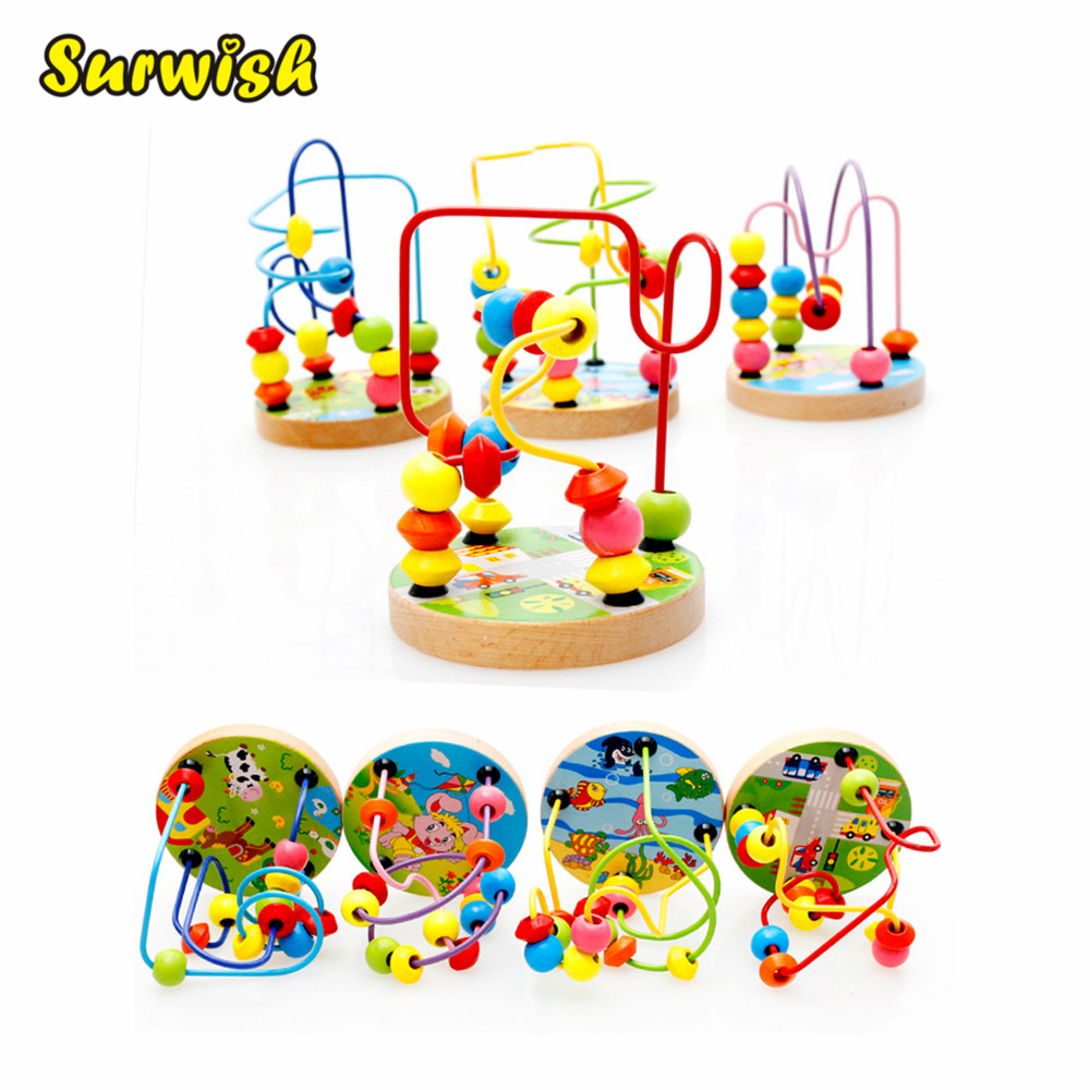Surwish Mini Around Beads Wire Maze Montessori Educational Game Beech Wooden Toy for Baby Kids Children baby kids colorful wooden beads labyrinth maze game children toy wooden toy mini around beads wire maze educational game wj 094