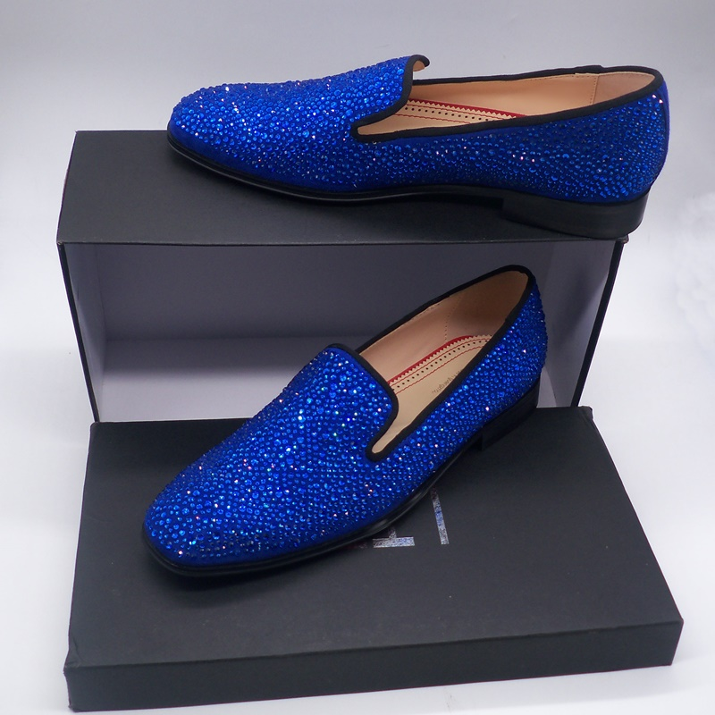 New Arrived Royal Blue Rhinestone Mens Loafers Luxury Slip on Suede Men Dress Shoes Handmade Men