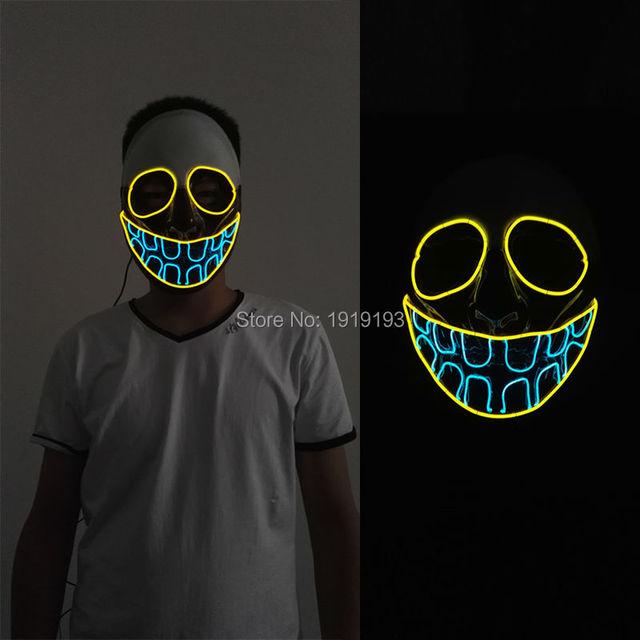 Neue ankunft 20 patten glowing el draht leuchten maske novelty ...