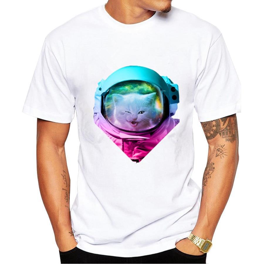 tshirt homme 2017 new space cat t shirt men cool fuuny t shirt men 39 s tee shirts camisetas hombre. Black Bedroom Furniture Sets. Home Design Ideas