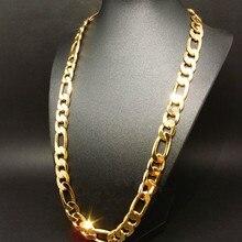 Новинка! Тяжелая 94 г 10 мм 24k желтое золото заполненные мужские ожерелье цепь ювелирные изделия