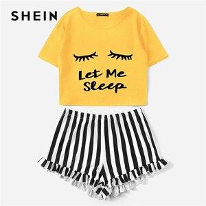 Image 4 - שיין ג ינג ר גרפי טי מצויץ פסים מכנסי פיג מה עבור נשים עגול צוואר קצר שרוול 2019 קיץ פיג מה סטי NightWear
