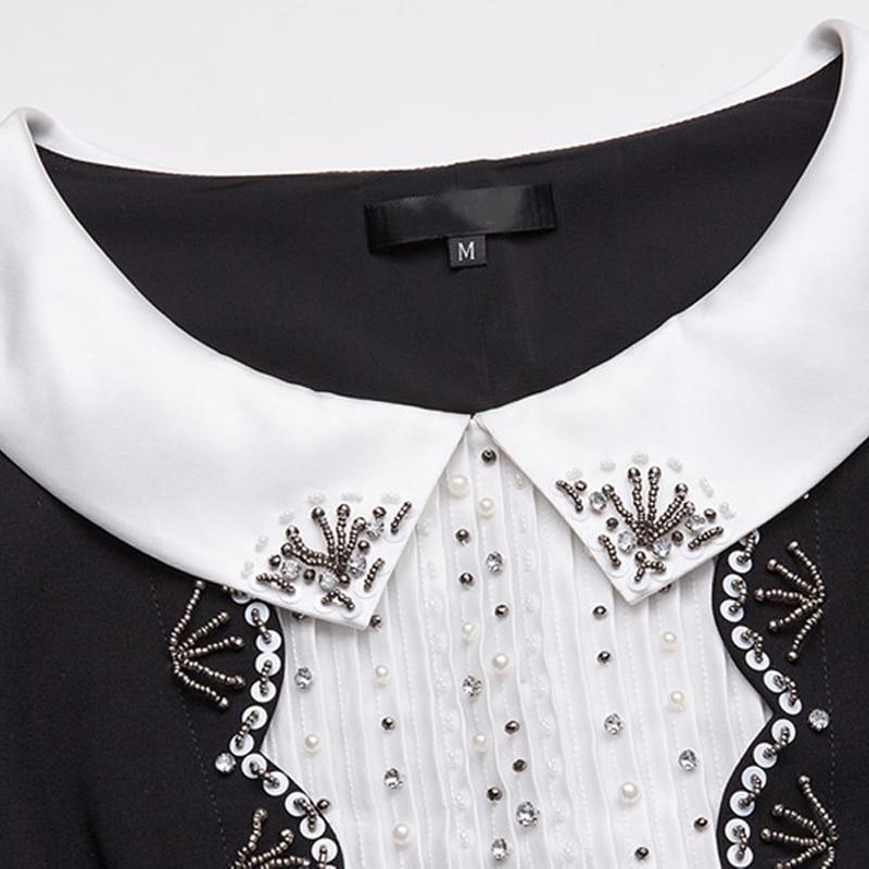 Contraste Avec Perles Printemps Blanc Manches 3726 5xl Robe Femmes Grande S 2018 Longues Casual Taille Vêtements Diamants Noir Paillettes À xXv54waq