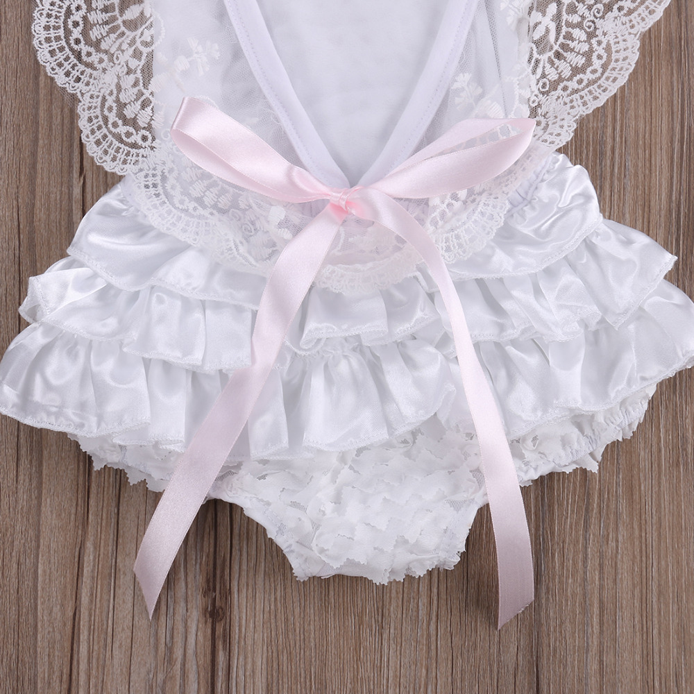 5b981b3dcc76 Cute Baby Girl Clothes Infant Girl Lace Bodysuit Newborn Pure White ...