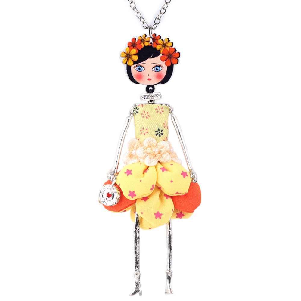 Bonsny Tuyên Bố Búp Bê Hoa Necklace Dress Handmade Pháp Búp Bê Mặt Dây Chuyền Tin Tức Alloy Girl Phụ Nữ Hoa Trang Sức Quà Tặng