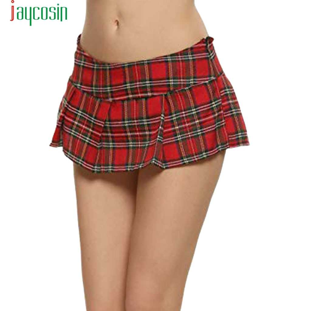 JAYCOSIN Women Sexy Mini Skirts Sexy Plaid Plus Size Short Pleated Skirts School Girl Sexy Zipper Skirt Student Costumes    D08
