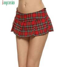 24e7132cc132e JAYCOSIN Women Sexy Mini Skirts Sexy Plaid Plus Size Short Pleated Skirts  School Girl Sexy Zipper Skirt Student Costumes D08